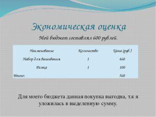 Экономическая оценка Мой бюджет составлял 600 рублей. Для моего бюджета данна