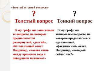 «Толстый и тонкий вопросы» ? Толстый вопрос ? Тонкий вопрос В эту графу мы з