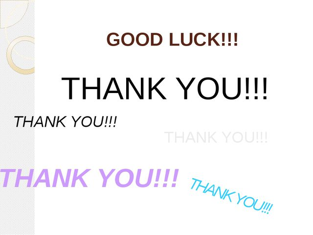 GOOD LUCK!!! THANK YOU!!! THANK YOU!!! THANK YOU!!! THANK YOU!!! THANK YOU!!!