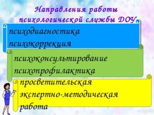 Направления работы психологической службы ДОУ психодиагностика психокоррекция