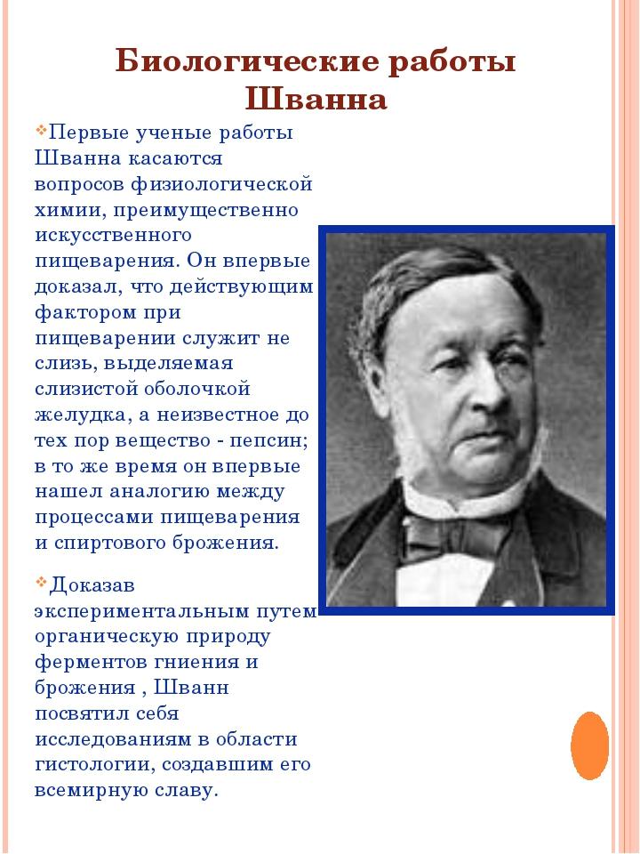 Биологические работы Шванна Первые ученые работы Шванна касаются вопросов физ...