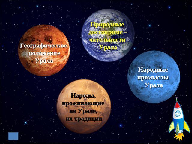Географическое положение Урала Природные достоприме – чательности Урала Народ...