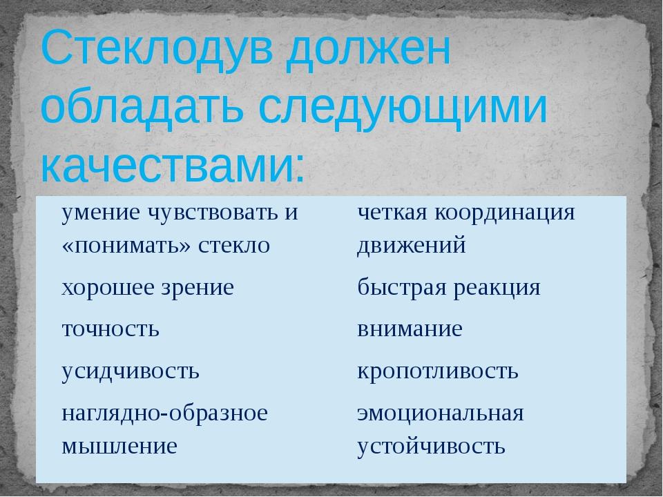 Стеклодув должен обладать следующими качествами: умение чувствовать и «понима...