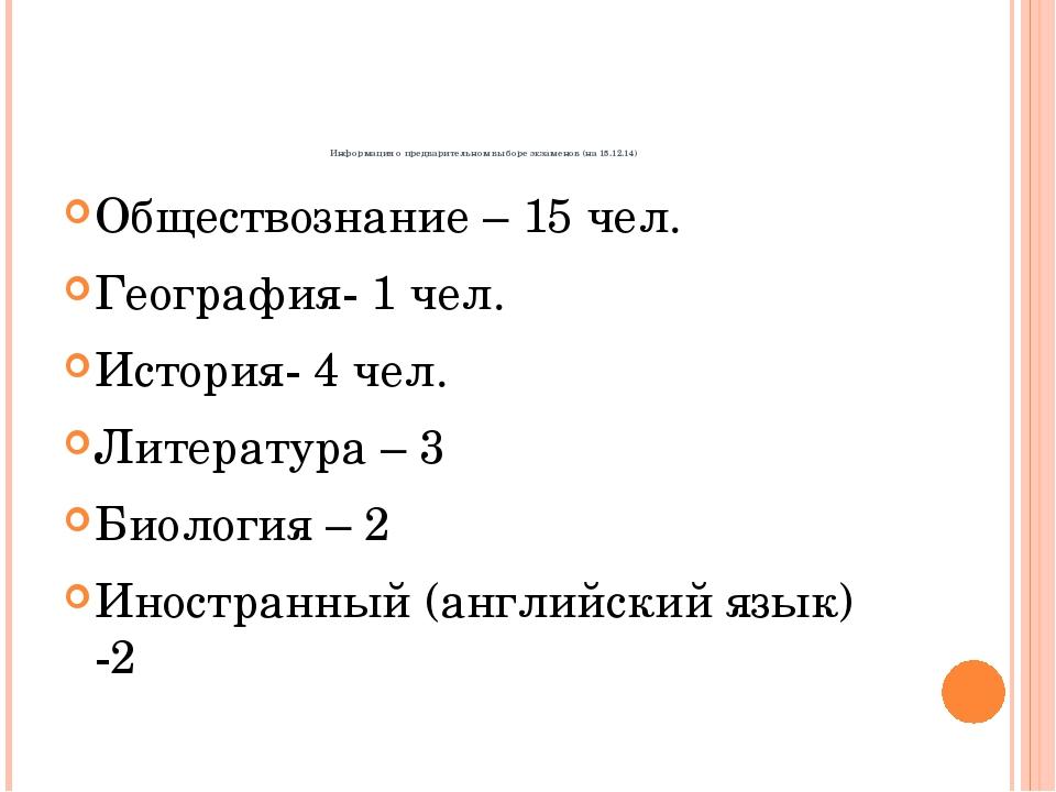 Информация о предварительном выборе экзаменов (на 15.12.14) Обществознание –...