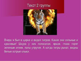 Текст 2 группы Вчера я был в цирке и видел тигров. Какие они сильные и красив