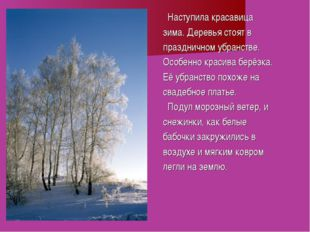 Наступила красавица зима. Деревья стоят в праздничном убранстве. Особенно кр