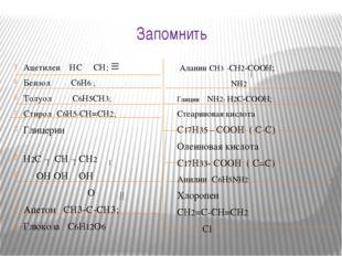 Запомнить Ацетилен НС СН; Бензол С6Н6 ; Толуол С6Н5СН3; Стирол С6Н5-СН=СН2; Г