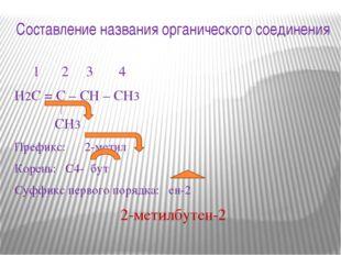 Составление названия органического соединения 1 2 3 4 Н2С = С – СН – СН3 СН3