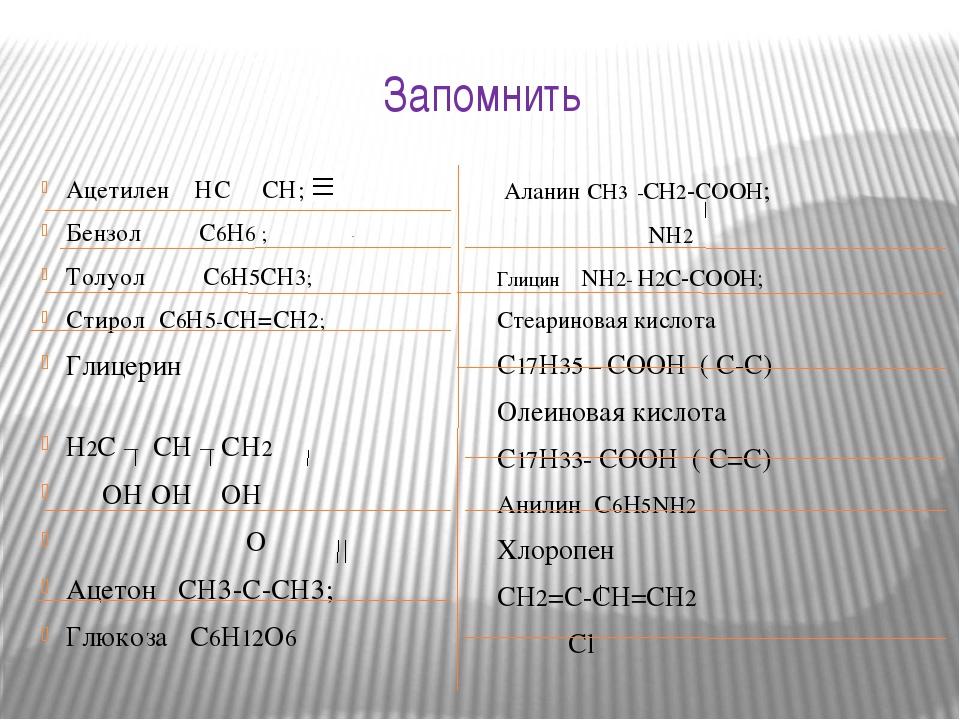 Запомнить Ацетилен НС СН; Бензол С6Н6 ; Толуол С6Н5СН3; Стирол С6Н5-СН=СН2; Г...