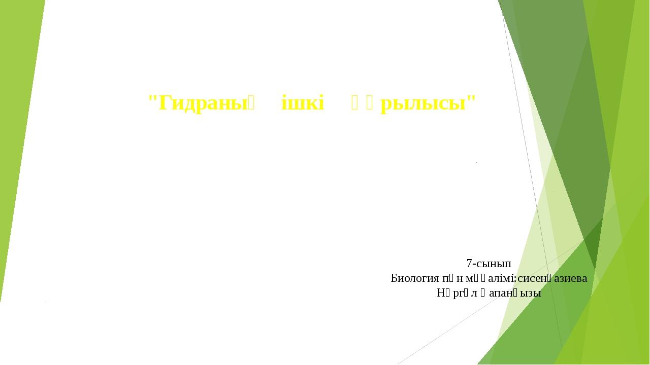 """""""Гидраның ішкі құрылысы"""" 7-сынып Биология пән мұғалімі:сисенғазиева Нүргүл Қа..."""