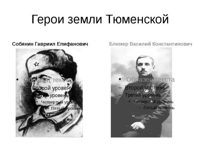 Герои земли Тюменской Собянин Гавриил Епифанович Блюхер Василий Константинович