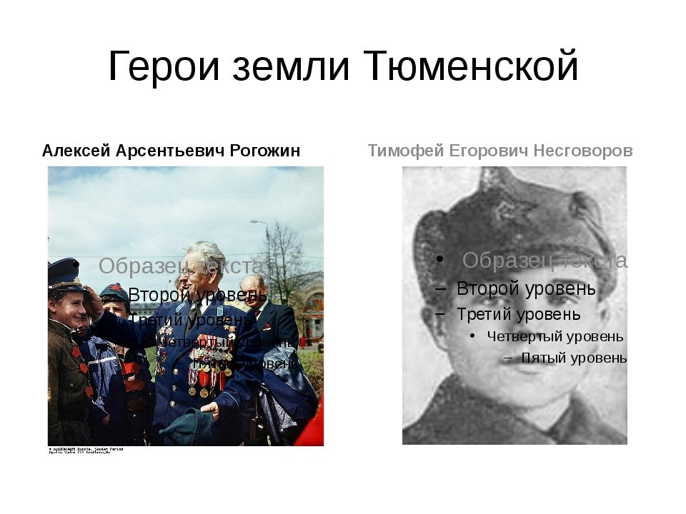 Герои земли Тюменской Алексей Арсентьевич Рогожин Тимофей Егорович Несговоров