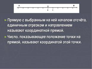 Прямую с выбранным на ней началом отсчёта, единичным отрезком и направлением