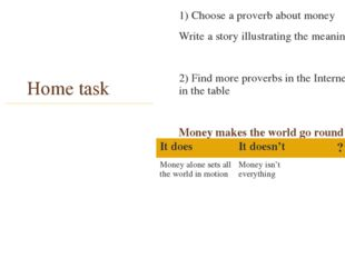 Home task 1) Choose a proverb about money Write a story illustrating the mean