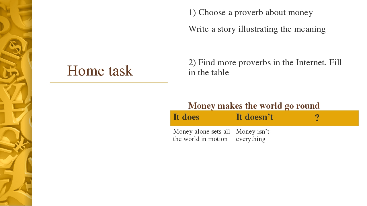 Home task 1) Choose a proverb about money Write a story illustrating the mean...