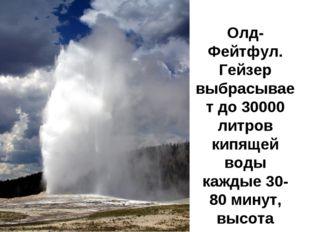 Олд-Фейтфул. Гейзер выбрасывает до 30000 литров кипящей воды каждые 30-80 мин