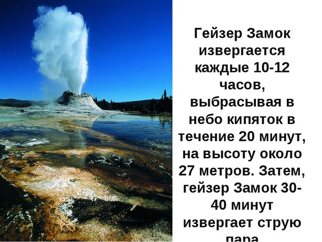 Гейзер Замок извергается каждые 10-12 часов, выбрасывая в небо кипяток в тече...