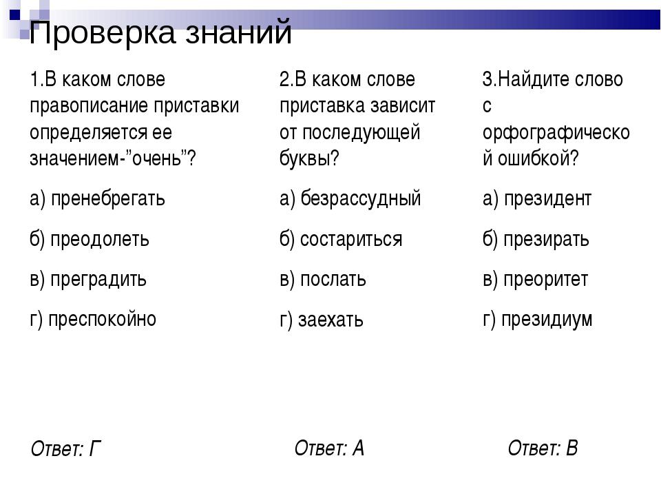 Проверка знаний 1.В каком слове правописание приставки определяется ее значен...