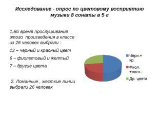 Исследование - опрос по цветовому восприятию музыки 8 сонаты в 5 г 1.Во время