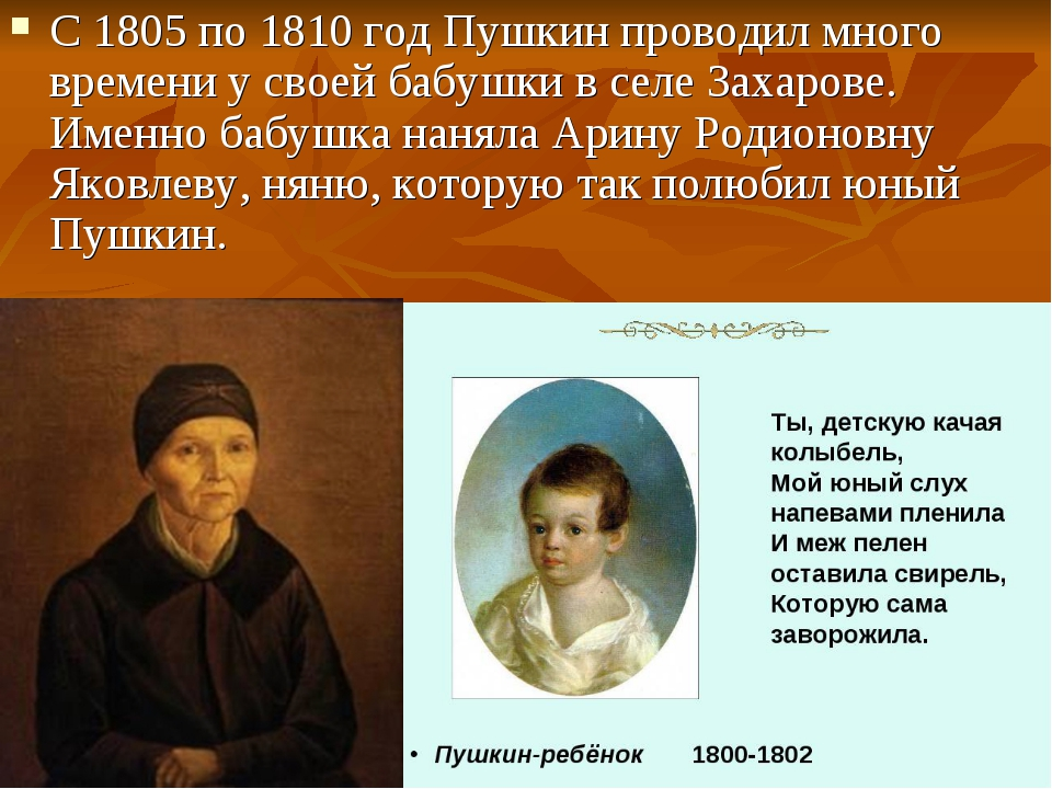 С 1805 по 1810 год Пушкин проводил много времени у своей бабушки в селе Захар...