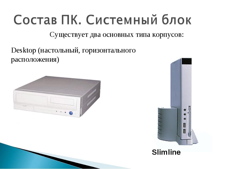 Desktop (настольный, горизонтального расположения) Slimline Существует два ос...