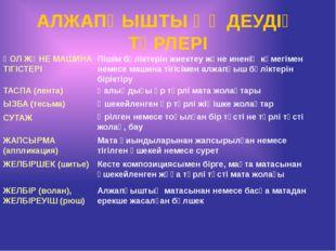 АЛЖАПҚЫШТЫ ӨҢДЕУДІҢ ТҮРЛЕРІ ТАСПА (лента) ЖЕЛБІРШЕК (шитье) ЖАПСЫРМА (апплика