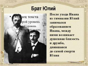 Брат Юлий После ухода Ивана из гимназии Юлий занимался образованием Ивана, ме