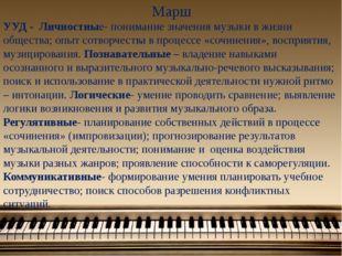 Марш УУД - Личностные- понимание значения музыки в жизни общества; опыт сотво