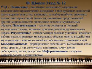 Ф. Шопен Этюд № 12 УУД - Личностные - понимание жизненного содержания классич