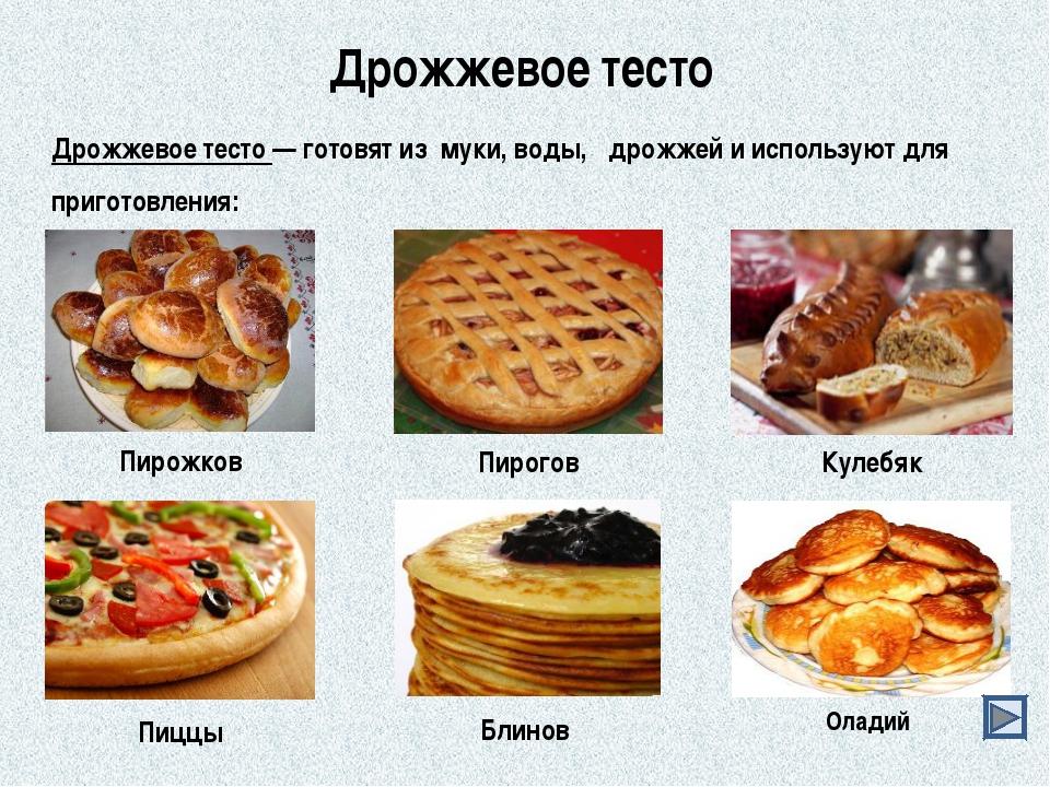Дрожжевое тесто Дрожжевое тесто — готовят из муки, воды, дрожжей и используют...