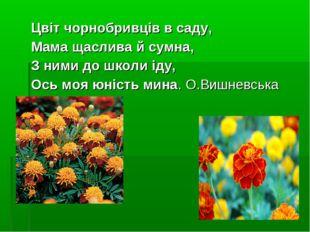 Цвіт чорнобривців в саду, Мама щаслива й сумна, З ними до школи іду, Ось моя