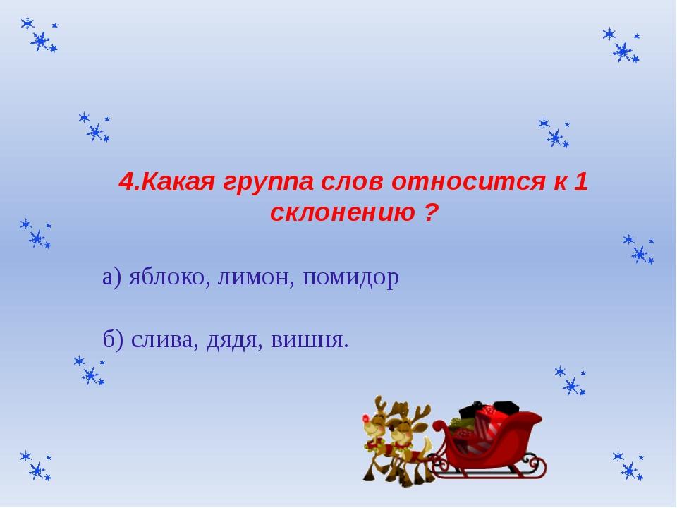 4.Какая группа слов относится к 1 склонению ? а) яблоко, лимон, помидор б) сл...