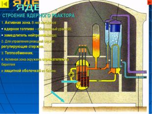 СТРОЕНИЕ ЯДЕРНОГО РЕАКТОРА 1. Активная зона. В ней находятся: ядерное топливо