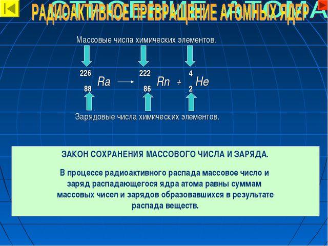 Массовые числа химических элементов. Зарядовые числа химических элементов. 22...