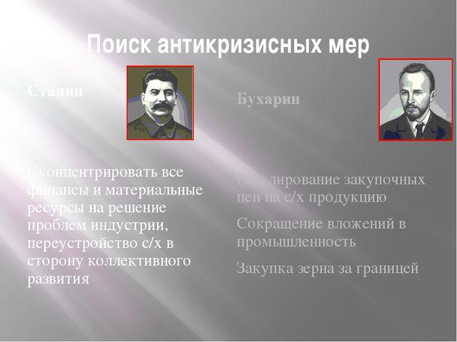 Поиск антикризисных мер Сталин Сконцентрировать все финансы и материальные ре...