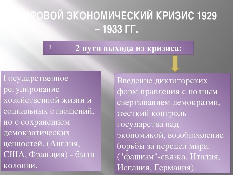 МИРОВОЙ ЭКОНОМИЧЕСКИЙ КРИЗИС 1929 – 1933 ГГ. 2 пути выхода из кризиса: Госуда...