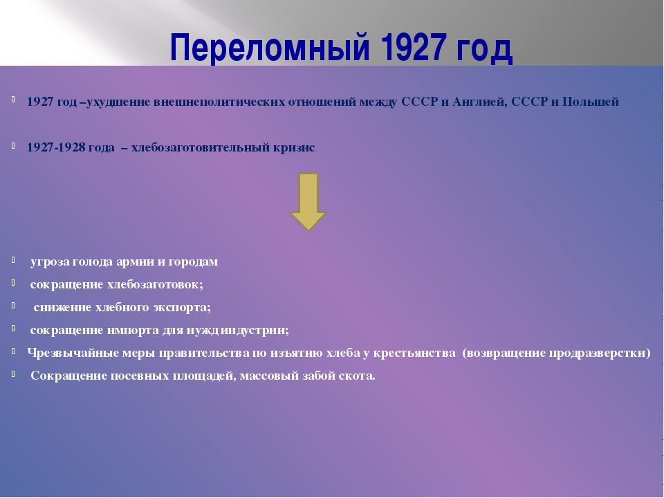 Переломный 1927 год 1927 год –ухудшение внешнеполитических отношений между СС...