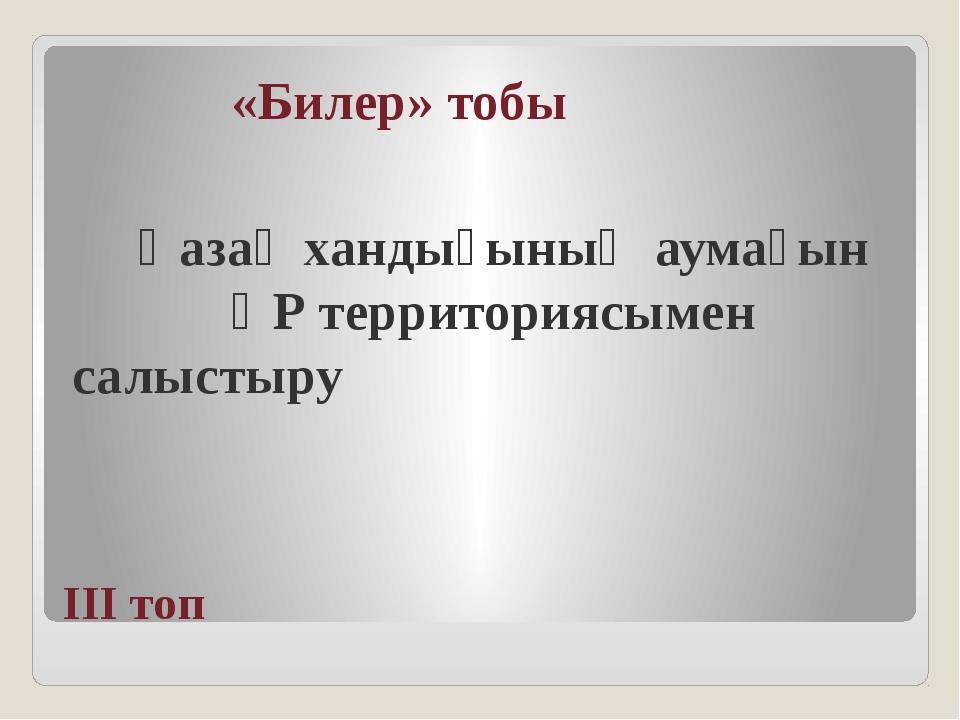 ІІІ топ «Билер» тобы Қазақ хандығының аумағын ҚР территориясымен салыстыру
