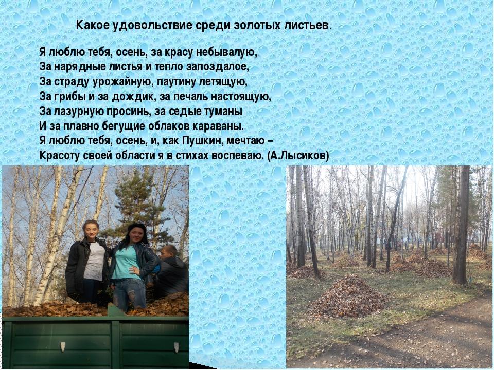Я люблю тебя, осень, за красу небывалую, За нарядные листья и тепло запоздало...