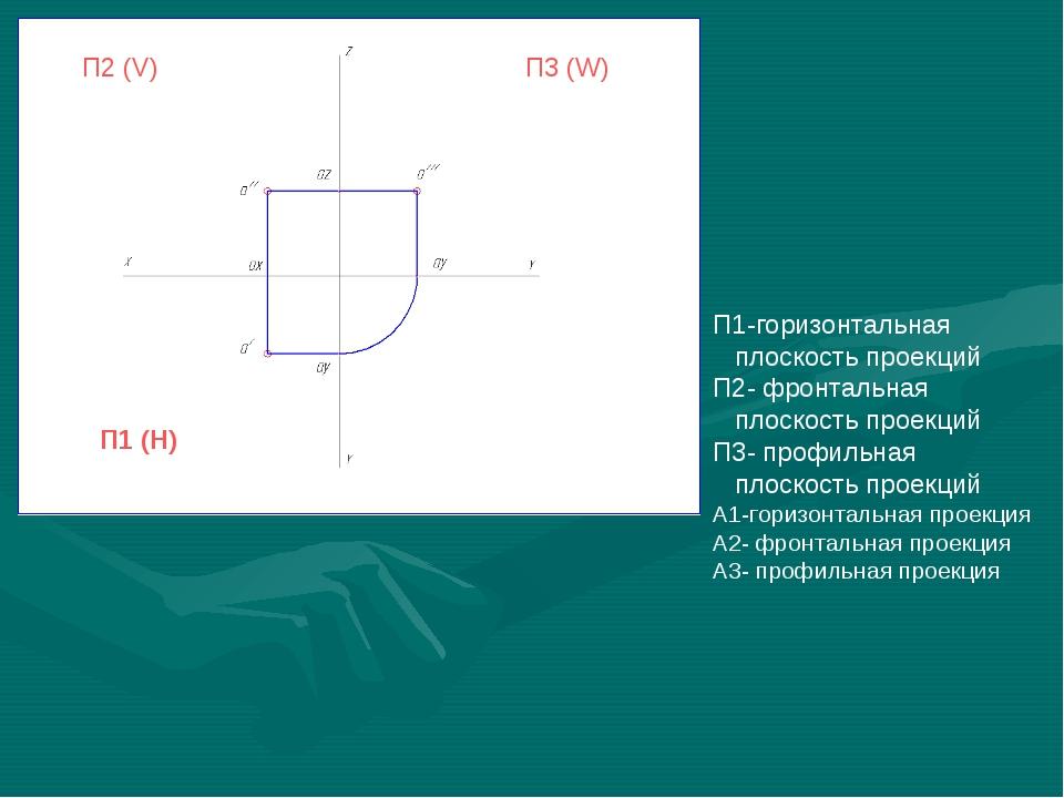 П2 (V) П1 (H) П3 (W) П1-горизонтальная плоскость проекций П2- фронтальная пло...