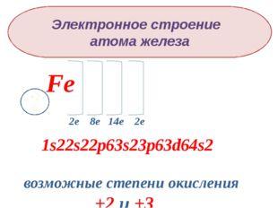 Электронное строение атома железа Fe +26 2е 8е 14е 2е 1s22s22p63s23p63d64s2 в