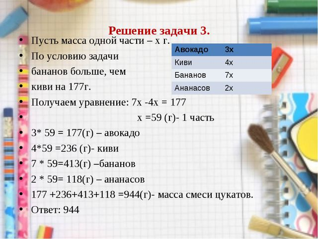 Решение задачи 3. Пусть масса одной части – х г. По условию задачи бананов бо...