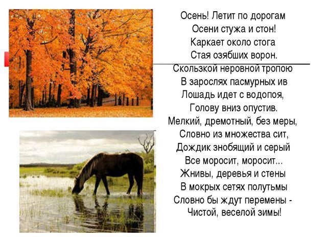 Осень! Летит по дорогам Осени стужа и стон! Каркает около стога Стая озябших...