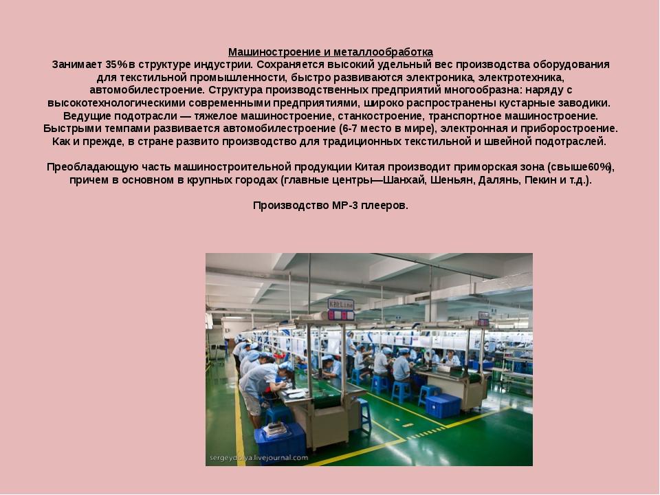Машиностроение и металлообработка Занимает 35% в структуре индустрии. Сохраня...