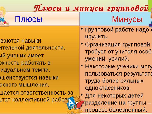 Плюсы и минусы групповой работы Плюсы Минусы Развиваются навыки мыслительной...
