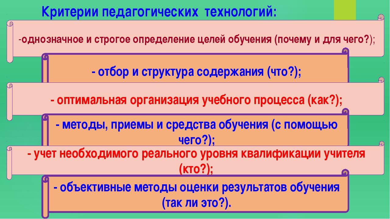Критерии педагогических технологий: -однозначное и строгое определение целей...