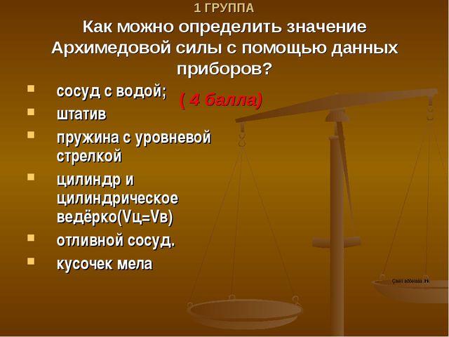V ТУР. 1 ГРУППА Как можно определить значение Архимедовой силы с помощью данн...