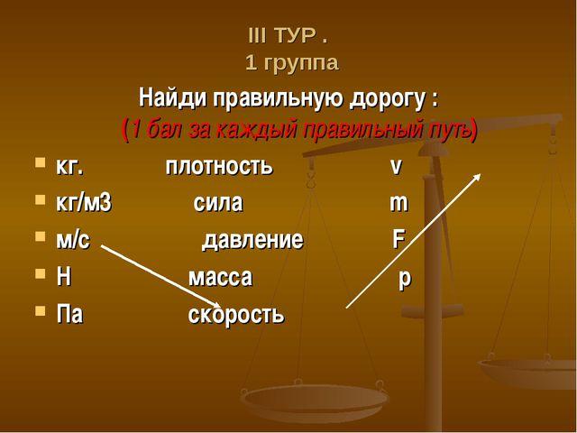 ΙΙΙ ТУР . 1 группа Найди правильную дорогу : (1 бал за каждый правильный путь...