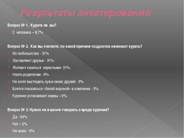 Результаты анкетирования Вопрос № 1. Курите ли вы? 2 человека – 8,7%. Вопрос...