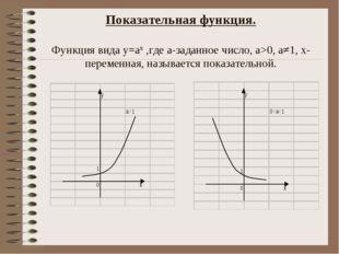 Показательная функция. Функция вида у=ах ,где а-заданное число, а>0, а≠1, х-п